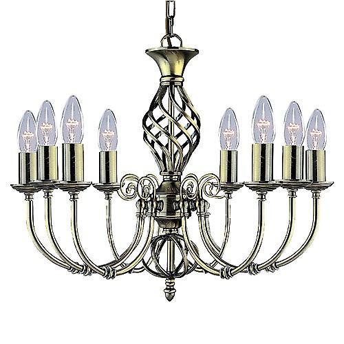 Searchlight 8398-8 Zanzibar Traditional Antique Brass 8 Light Chain Pendant