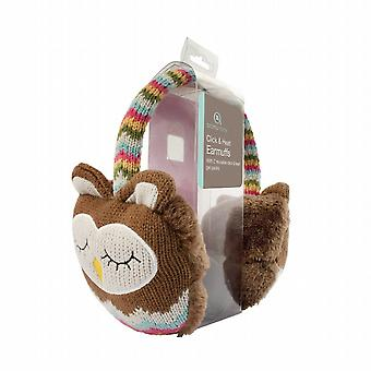 Cozy Ears Click & Heat Knitted Animal Ear Muffs: Brown Owl