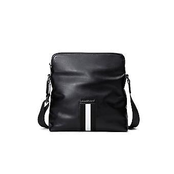 Leather Black Portrait Plain Style Bag 12.5