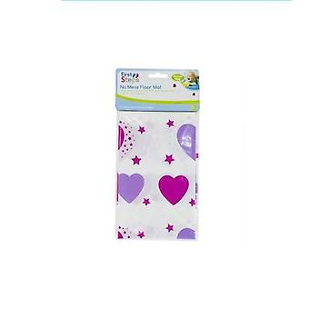 First Steps No Mess Floor Mat Easy Clean Baby Messy Mat - Pink Hearts Design