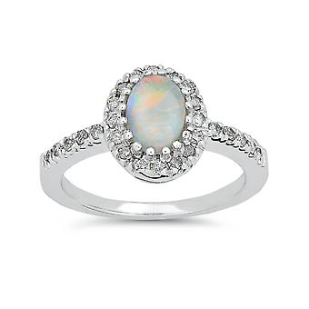 3/4ct Oval Opal & Diamond Halo Ring 14K White Gold