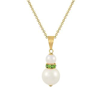 Eternal Collection Alpine Peridot Crystal White Shell Pearl Gold Tone Pendant