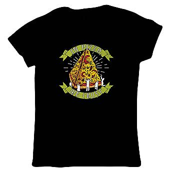 I Pizza vi skorpe dame T-shirt | Moderne kunst design Illustrator artwork kollektion | Fajitas Pizza tacos pasta burrito Churro kylling | Mad Funny gave hendes mor | Gæstekunstner JG