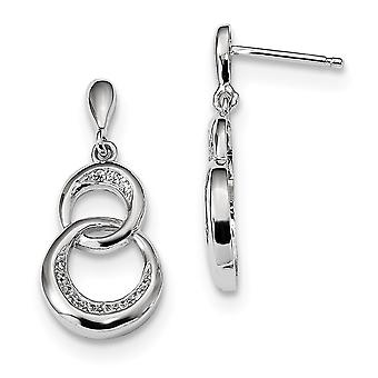 925 Sterling Silver Pave Rhodium-plated and Cubic Zirconia Fancy Dangle Post Earrings