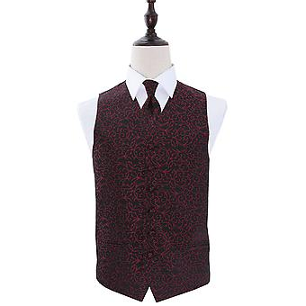 Black & Burgundy Swirl Patterned Wedding Waistcoat & Tie Set
