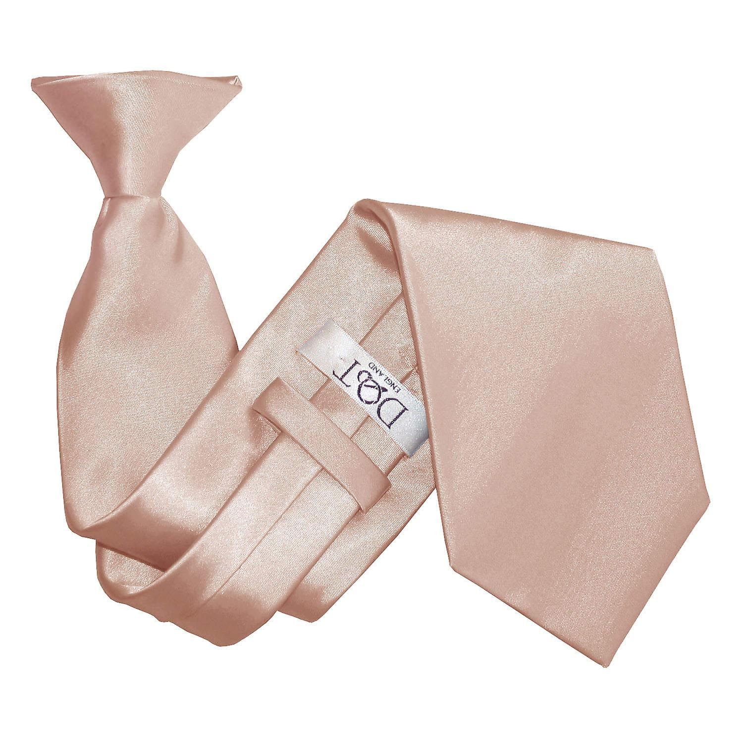 Plain Mocha Brown Satin Clip On Tie