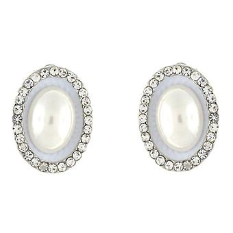 Clip On Earrings Store Silver & Ivory Pearl and Crystal Oval Clip On Earrings