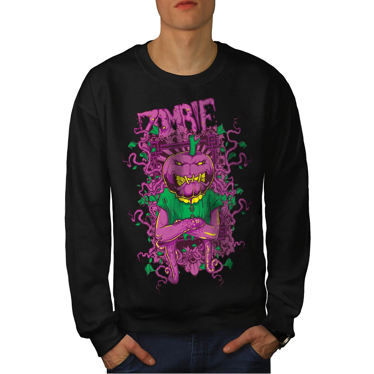 Zombie Pumpkin Ghost Head Mask Men Black Sweatshirt | Wellcoda