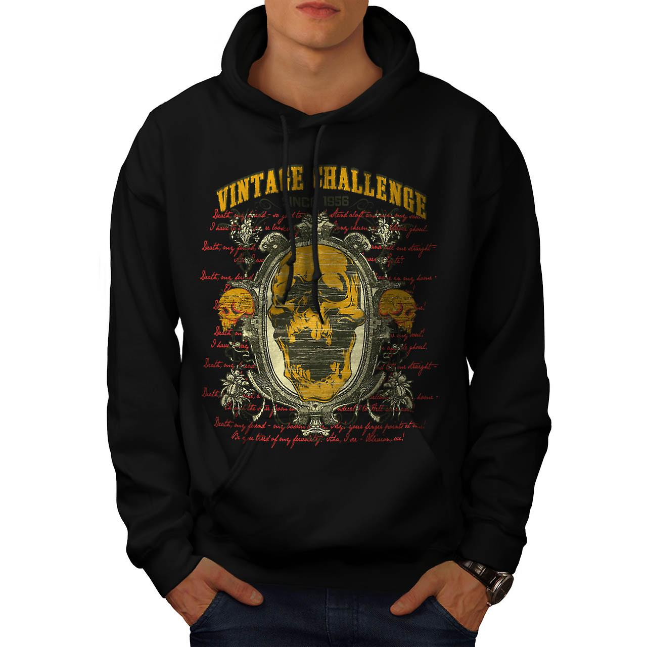 Vintage Challenge USA Skull Head Men Black Hoodie | Wellcoda
