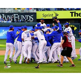 The Kansas City Royals celebrate winning  Game 4 of the 2014 American League Championship Series Photo Print