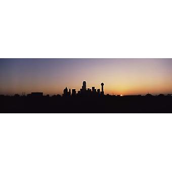 Sunrise Skyline Dallas TX USA Poster Print