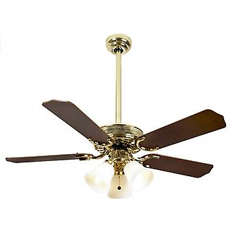 Ceiling Fan Vienna polished brass with light 107 cm / 42""
