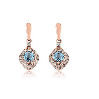 10K Rose Gold Diamond And Topaz Drop Earrings (0.15 Cttw, G-H Color, I2-I3 Clarity)