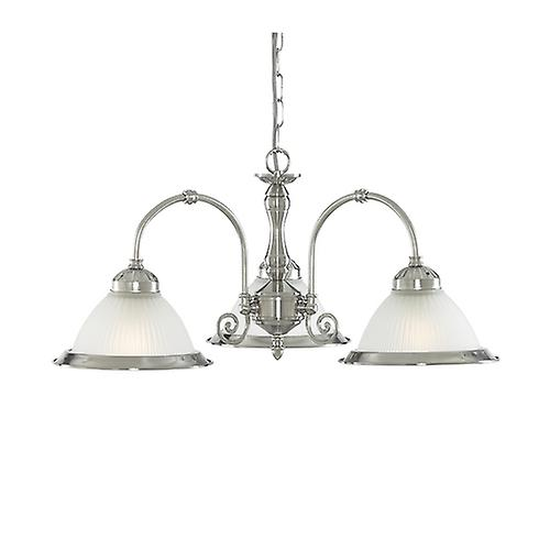 Searchlight 1043-3 American Diner Satin Silver 3 Light Ceiling Fitting