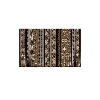 Sort og Beige stribet gummi bakkes tæppe - Panama 042 16