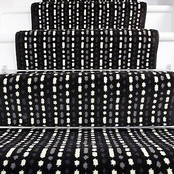 70cm Width - Modern Black White Striped Stair Carpet