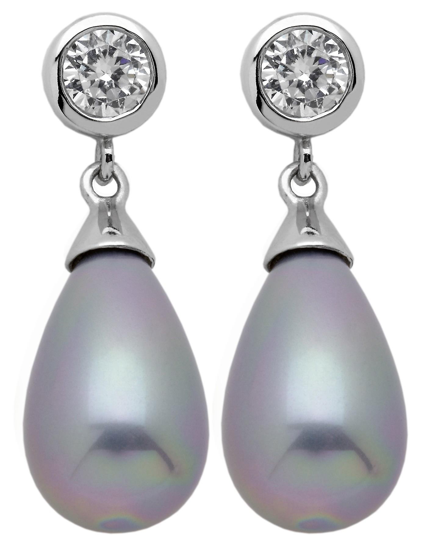 Burgmeister stud earring seashell pearls grey, JHE1095-223, 925 sterling silver rhodanized
