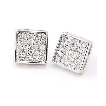 Sterling 925 Silver MICRO PAVE earrings - SQUARE 10 mm
