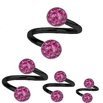 Spiral Twist Piercing Black Titanium 1,2 mm, Multi Crystal Ball Pink | 6 - 12 mm
