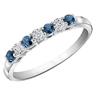 Blue Sapphire Ring with Diamonds 1/3 Carat (ctw) in 14K White Gold