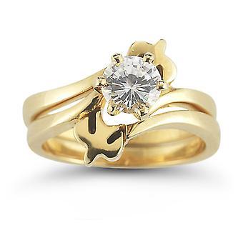 Holy Spirit Dove Diamond Bridal Engagement Ring Set, 14K Yellow Gold