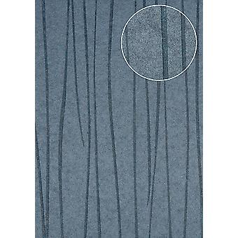 Fine stripe wallpaper Atlas COL-568-5 non-woven wallpaper smooth design shimmering gray pigeons blue 5.33 m2
