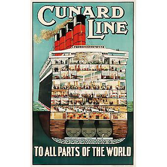 Cunard Line To All Parts Of The World Poster Print Giclee