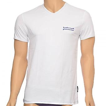 Just Cavalli Cotton Stretch V-Neck T-Shirt, White, X-Large