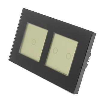 I LumoS Black Glass Double Frame 3 Gang 1 Way Remote Touch LED Light Switch Gold Insert