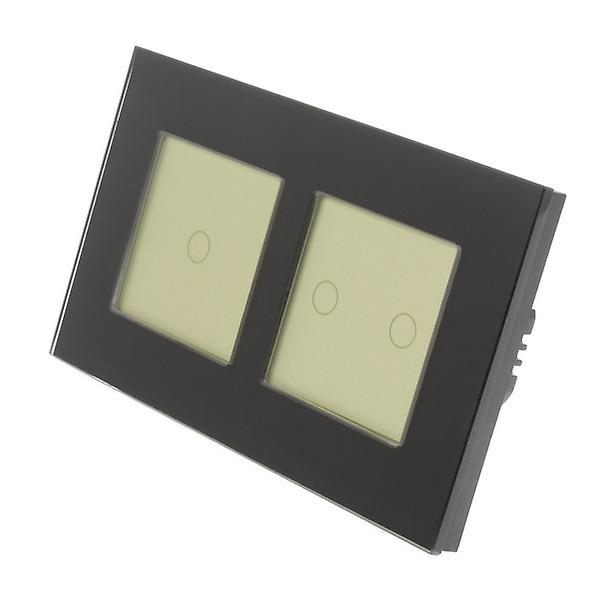 I LumoS noir Glass Double Frame 3 Gang 1 Way WIFI 4G Remote & Dimmer Touch LED lumière Switch or Insert