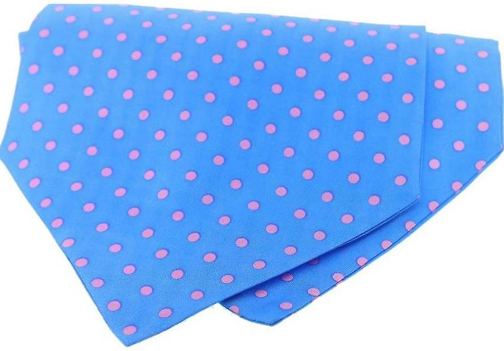 David Van Hagen Polka Dot Silk Twill Cravat - Blue/Pink