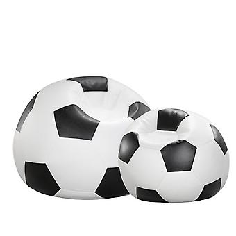 Bean bag cushion football black and white leatherette 80 x 80 x 80 cm