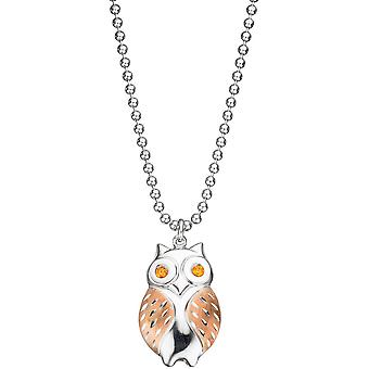 Trailer OWL 925 sterling silver gold plated orange bicolor 2 cubic zirconia