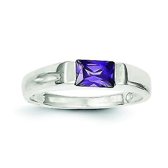 Sterling Silver Polished Open back Purple Cubic Zirconia Ring - Ring Size: 6 to 8