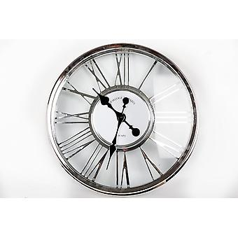 45CM SILVER PLASTIC CUT OUT WALL CLOCK ROMAN NUMBERS HOME OFFICE DECORATION