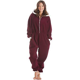 Camille  Fleece Hooded All In One Burgundy Onesie Pyjama