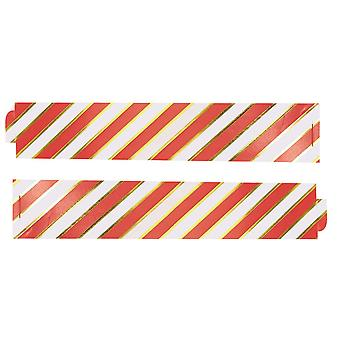 Gold Foiled Pin Stripe Paper Chains - Red & Gold