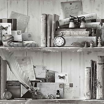 Eclectic Black White Wallpaper Old School Rustic Collector Items Shelves Vintage