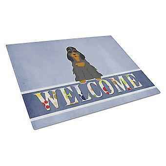 Cocker Spaniel Black Tan Welcome Glass Cutting Board Large
