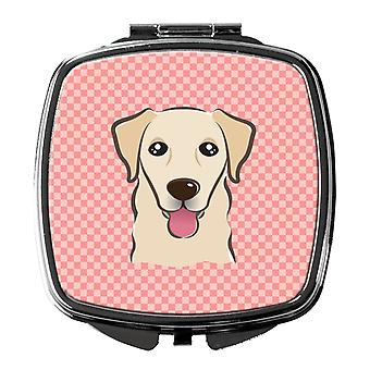 Carolines Treasures  BB1252SCM Checkerboard Pink Golden Retriever Compact Mirror