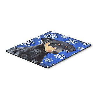 Doberman Winter Snowflakes Holiday Mouse Pad, Hot Pad or Trivet