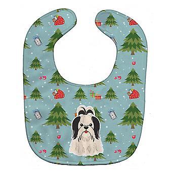 Carolines Treasures  BB4748BIB Christmas Shih Tzu Black White Baby Bib