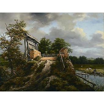 Most z nadrukiem plakat Śluza przez Jacob Van Ruisdael