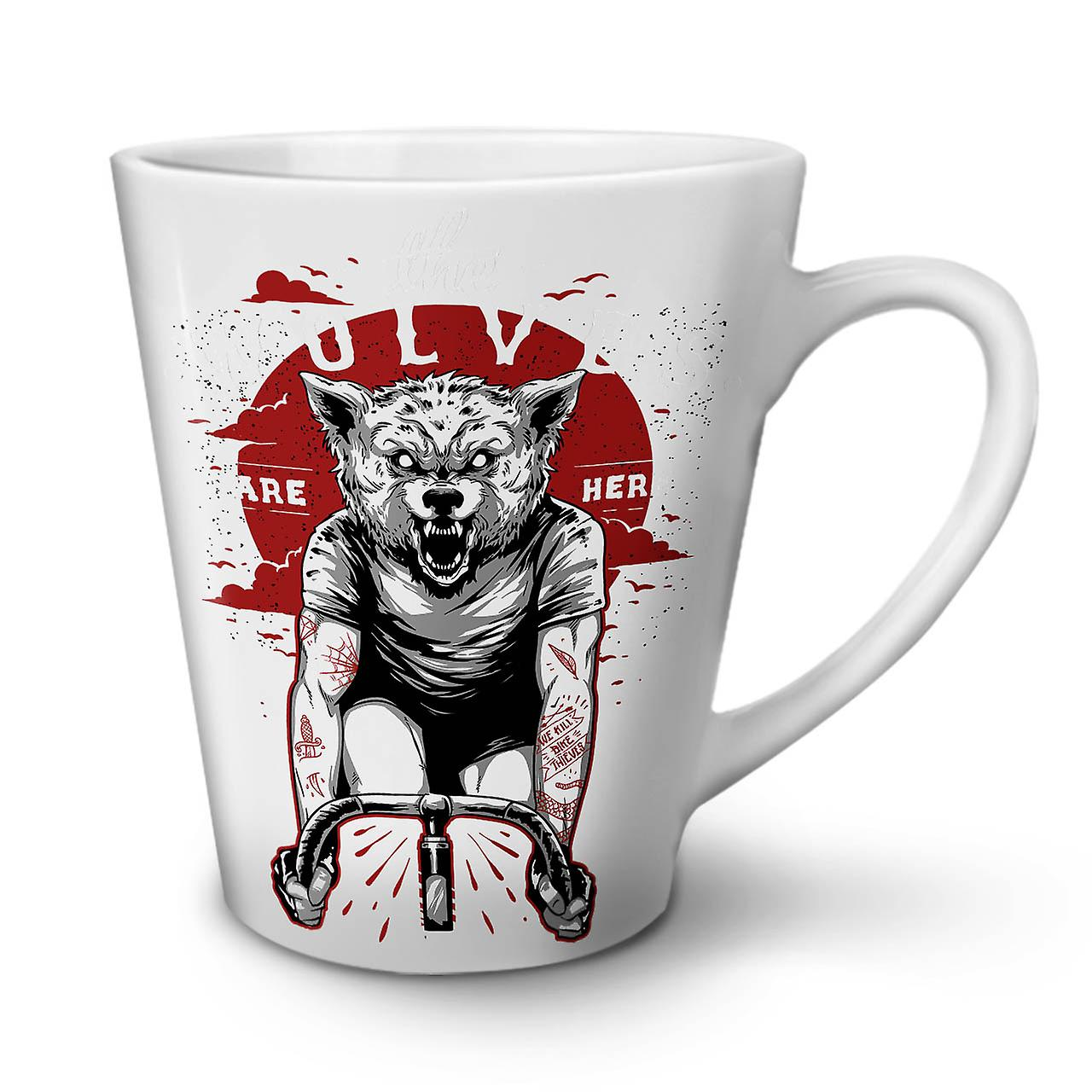 OzWellcoda Latte Les Loups Café Ici Animal Nouvelle 12 Sont Céramique Blanche Tasse En 0X8nwPkO