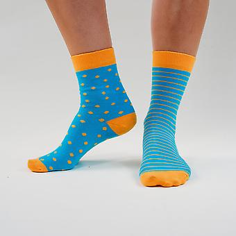 A clue for blue - colourful, blue and orange, comfortable cotton unisex odd socks by bsilysocks
