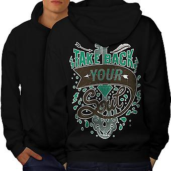 Take Back Soul Slogan Men BlackHoodie Back | Wellcoda