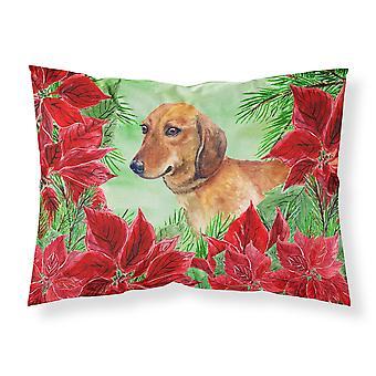 Dachshund Poinsettas Fabric Standard Pillowcase