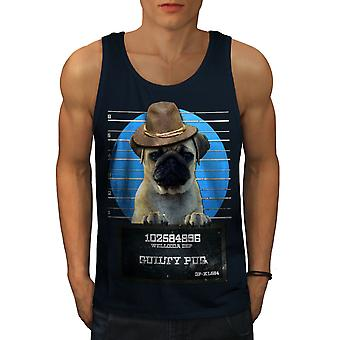 Pug Animal Criminal Dog Men NavyTank Top | Wellcoda