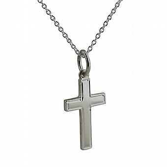 Silver 17x10mm engine turned line border solid block Cross with a rolo Chain 20 inches