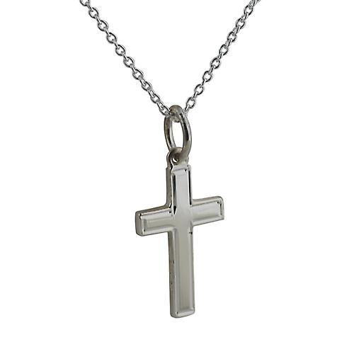 Silver 17x10mm engine turned line border solid block Cross with a rolo Chain 14 inches Only Suitable for Children